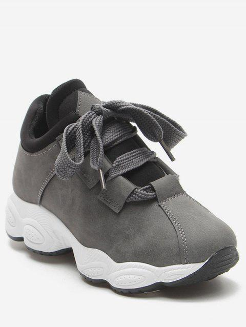 PU Leather Platform Casual Sneakers - GRAY EU 38