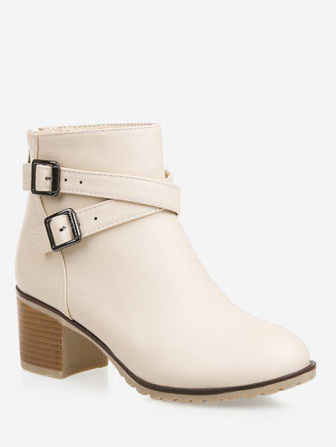 Plus Size Strap Wrap Stacked Heel Ankle Boots - BEIGE EU 39