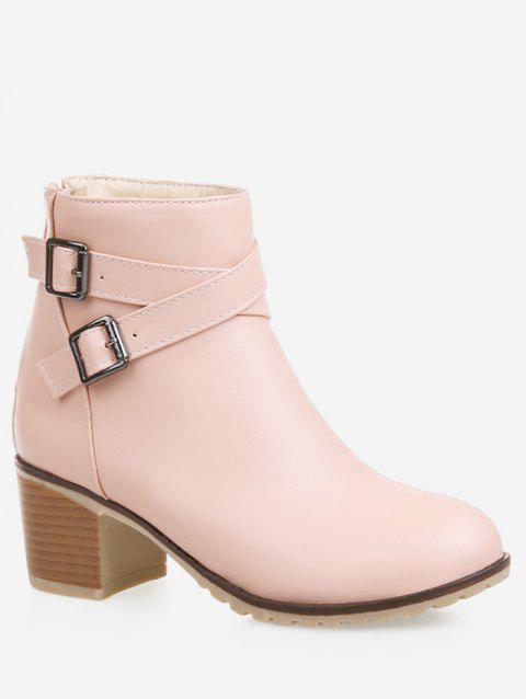 Plus Size Strap Wrap Stacked Heel Ankle Boots - PINK EU 37