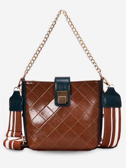 Minimalist Color Block Chain Shoulder Bag - BROWN
