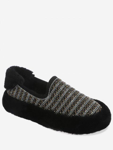 Faux Fur Trim Beading Flats - BLACK EU 37