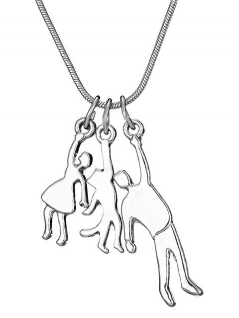 Family Characters Pendant Snake Chain Necklace - SILVER