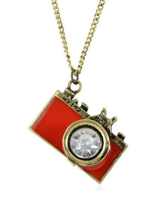 Camera Pattern Rhinestone Long Chain Necklace - RED