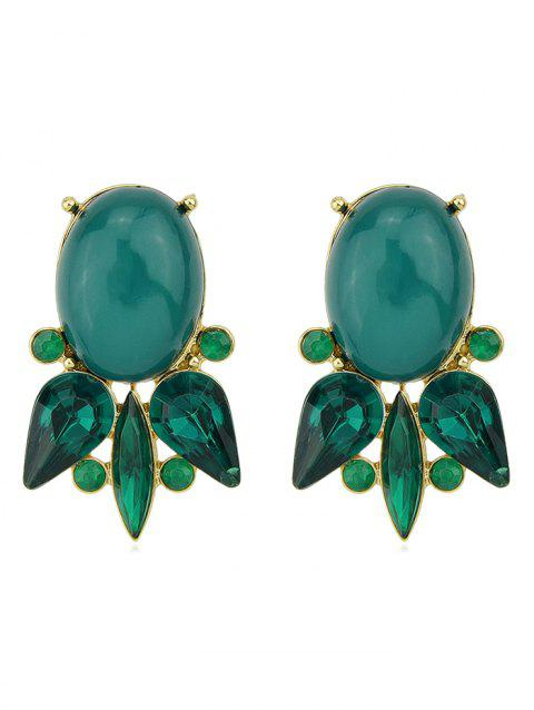 Goldfish Shape Faux Gem Rhinestone Dangle Earrings - GREEN