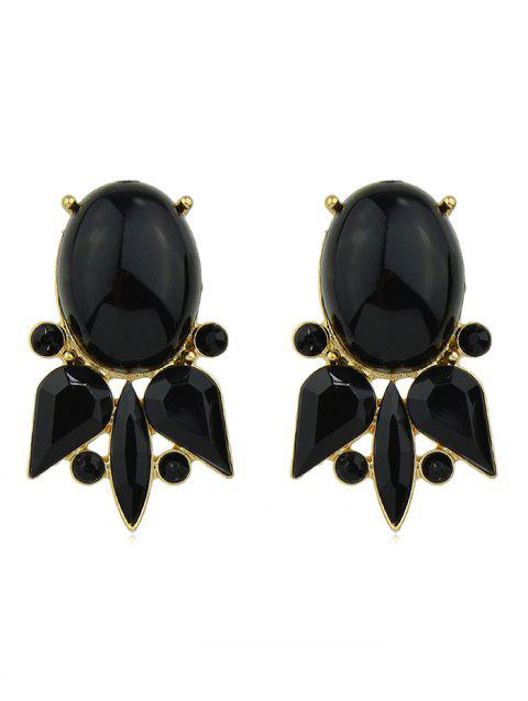 Goldfish Shape Faux Gem Rhinestone Dangle Earrings - BLACK