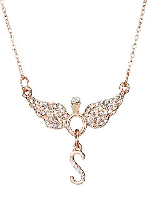 Wing Shape Letter S Rhinestone Necklace - ROSE GOLD