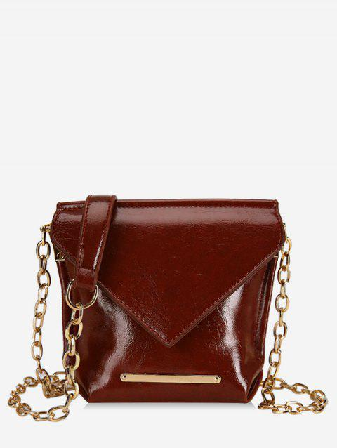 Metal Strip Design Chain Crossbody Bag - RED WINE