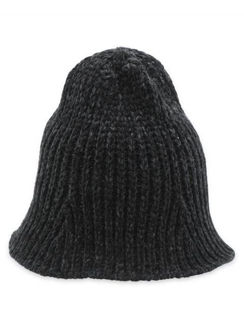 Flanging Knitted Fisherman Hat - BLACK