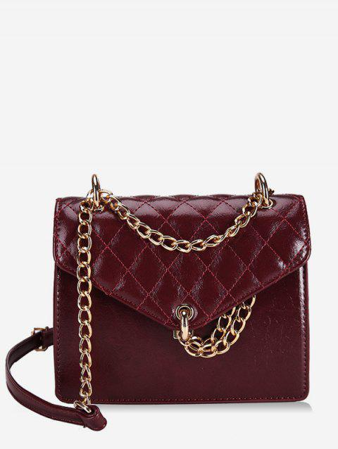 Chain Checked Crossbody Bag - RED WINE