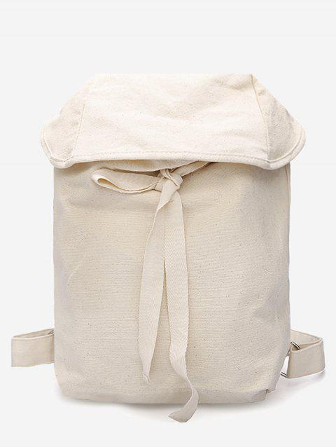 Simple Style Lace Up Backpack - WHITE