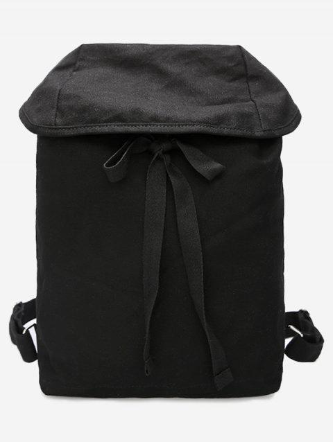 Simple Style Lace Up Backpack - BLACK