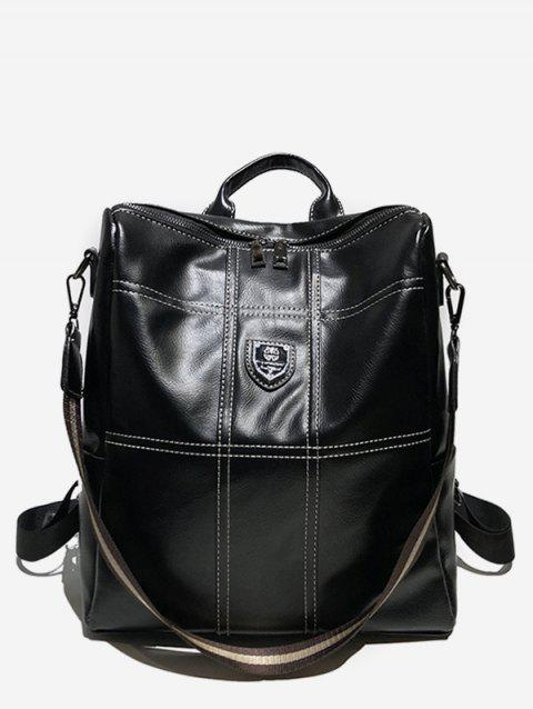 College Style Faux Leather Zipper Backpack - BLACK