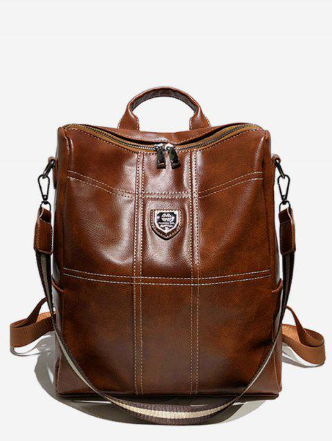 College Style Faux Leather Zipper Backpack - BROWN