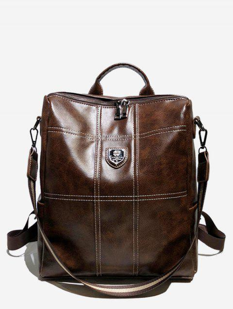 College Style Faux Leather Zipper Backpack - COFFEE
