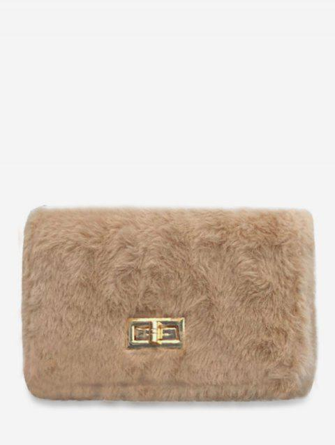 Mini Hasp Faux Fur Square Crossbody Bag - LIGHT KHAKI