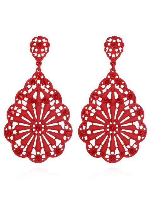 Hollowed Water Drop Shape Chinese Style Stud Earrings - RED