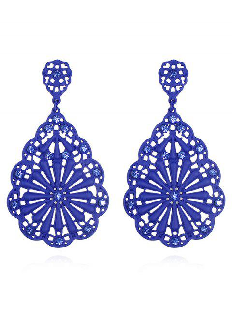 Hollowed Water Drop Shape Chinese Style Stud Earrings - BLUE