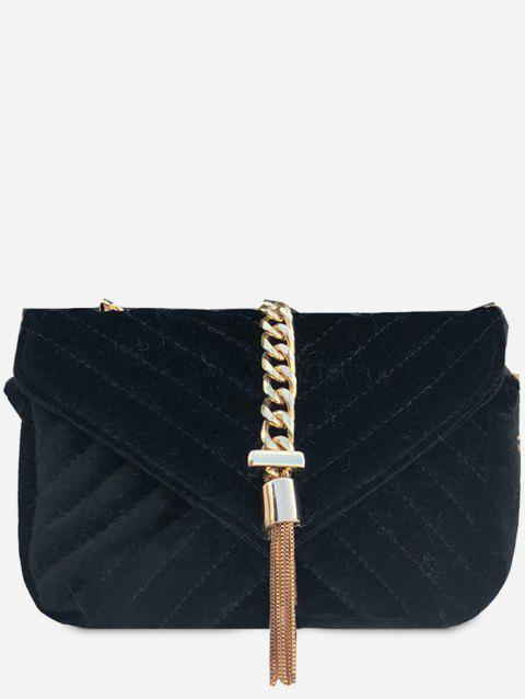 Tassels Chain Embellished Overlap Velvet Shoulder Bag - BLACK