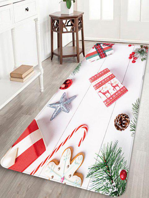 Christmas Star Gift Printed Floor Mat - WHITE W16 X L47 INCH