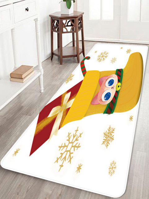 Christmas Stocking Gift Snowflake Printed Floor Mat - WHITE W16 X L47 INCH