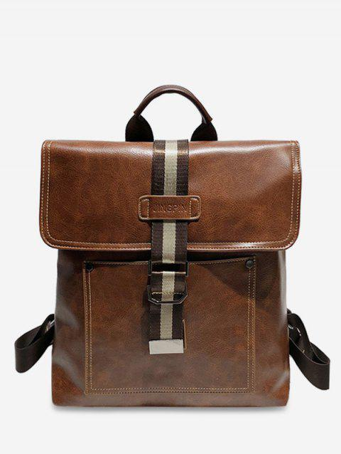 PU Leather Buckle School Backpack - LIGHT BROWN