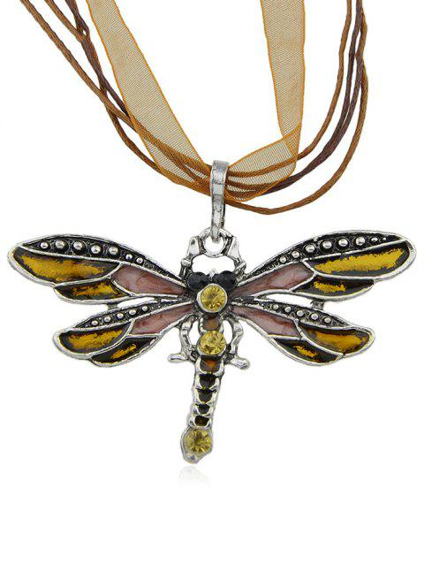 Rhinestone Butterfly Shape Rope Lace Necklace - COFFEE