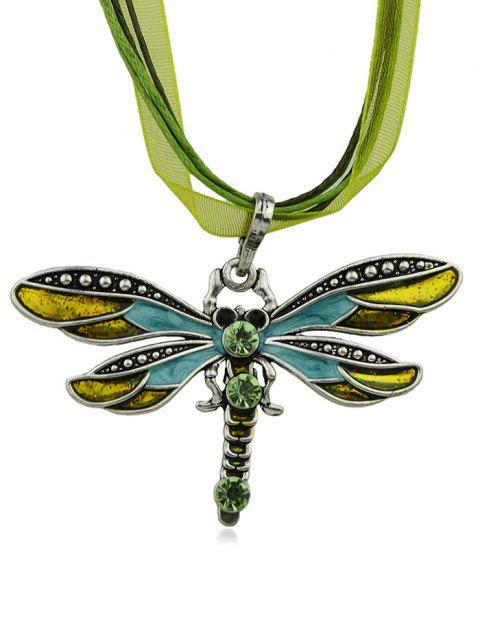 Rhinestone Butterfly Shape Rope Lace Necklace - GREEN