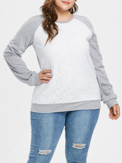 Plus Size Lace Panel Pullover Contras Sweatshirt - GRAY CLOUD 4X
