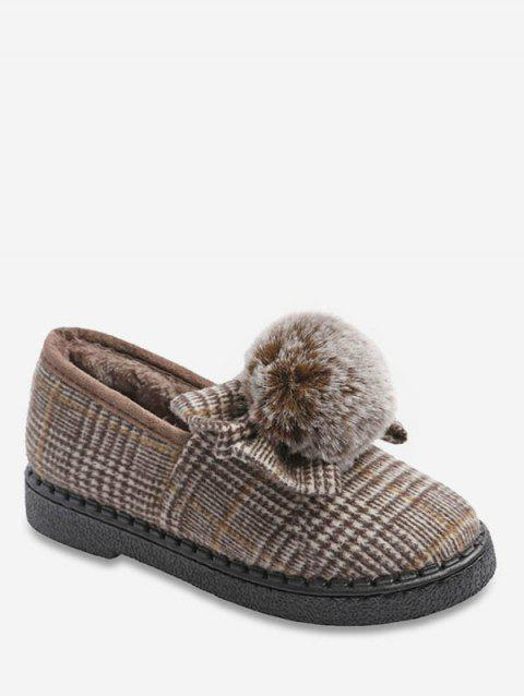 Fuzzy Ball Bowknot Plaid Flats - LIGHT KHAKI EU 36