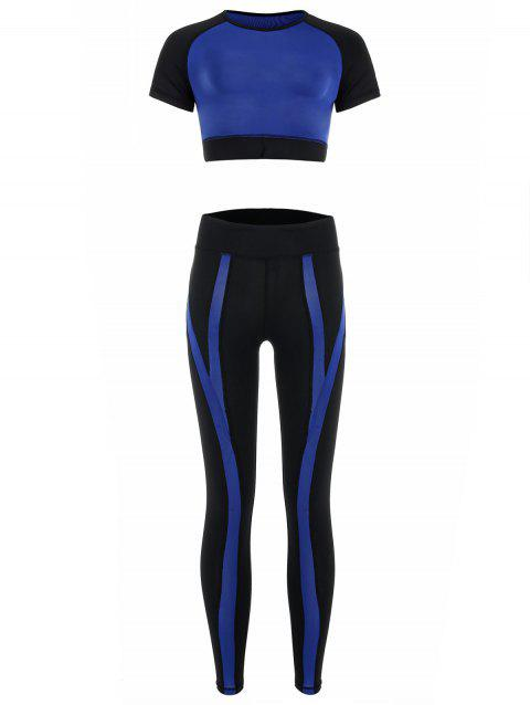 Contrast Top and Sports Leggings - BLUE M