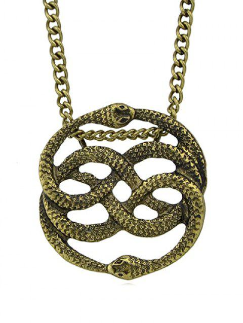 Metal Hollowed Double Snake Shape Necklace - BROWN
