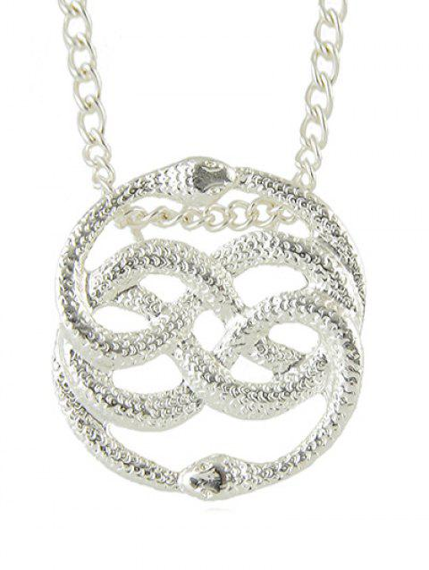 Metal Hollowed Double Snake Shape Necklace - SILVER