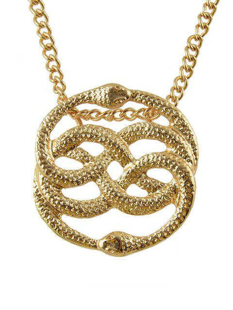 Metal Hollowed Double Snake Shape Necklace - GOLD