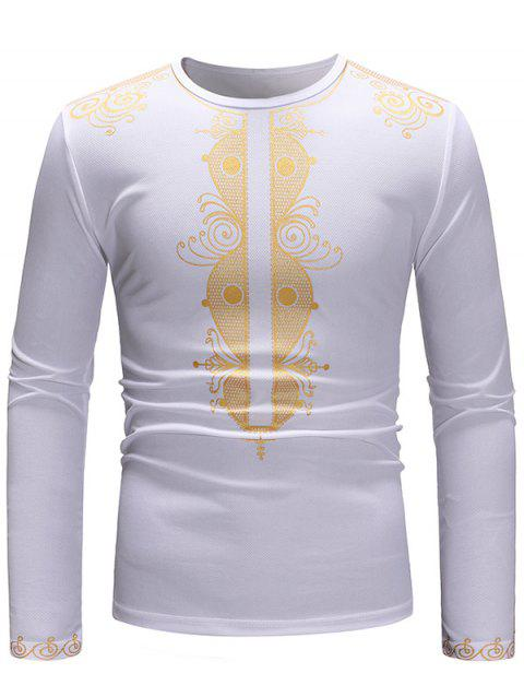 Golden Printed Long Sleeve T-shirt - WHITE M
