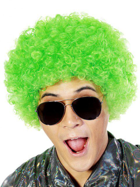 Short Full Bang Fluffy Afro Curly Party Synthetic Wig - GREEN