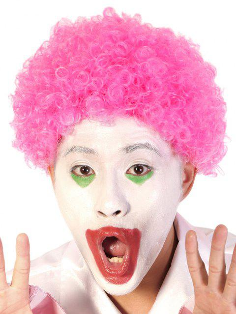 Short Full Bang Afro Curly Synthetic Clown Wig - HOT PINK