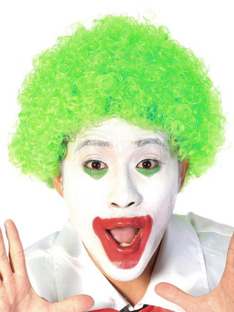 Short Full Bang Afro Curly Synthetic Clown Wig - GREEN