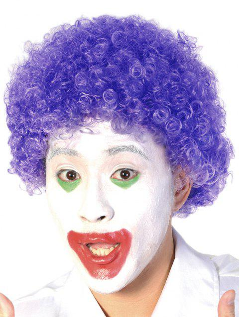 Short Full Bang Afro Curly Synthetic Clown Wig - PURPLE SAGE BUSH