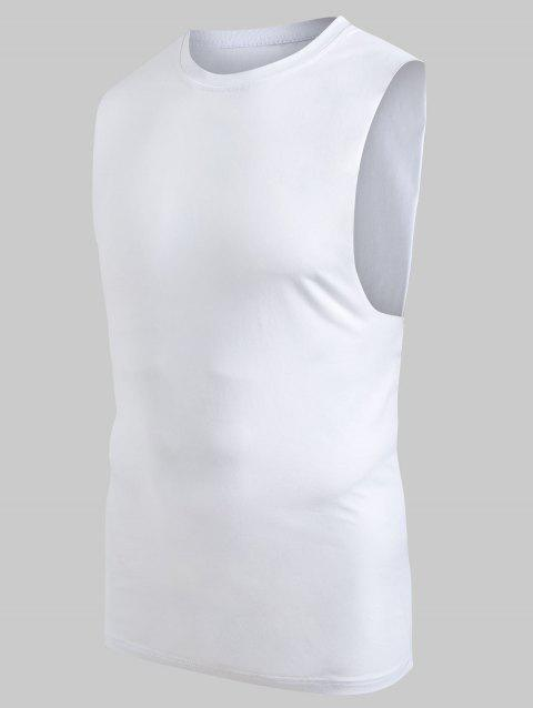 Casual Solid Color Tank Top - WHITE S