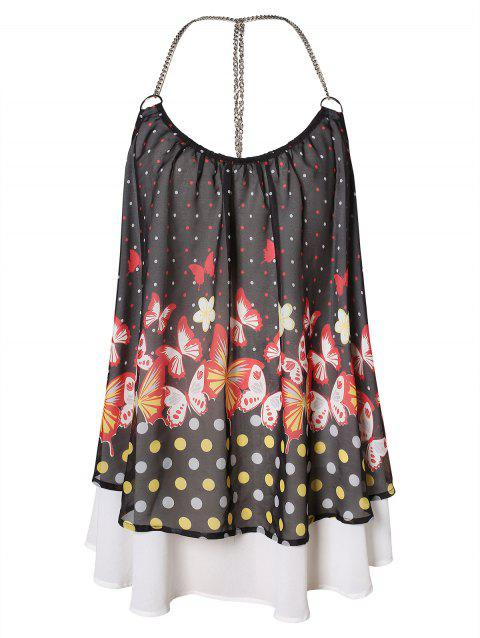 Plus Size Butterfly Print Overlay T Back Tank Top - multicolor 1X