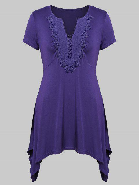 Plus Size Asymmetrical V Neck Top - PURPLE IRIS 3X