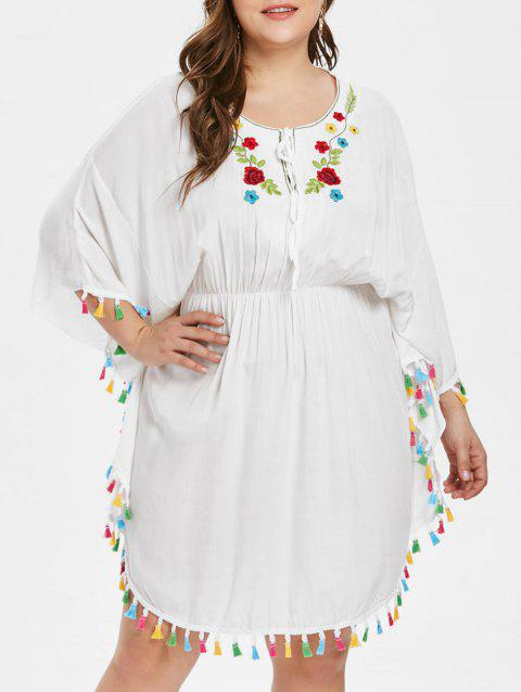 Plus Size Embroidered Batwing Tassel Dress - WHITE ONE SIZE