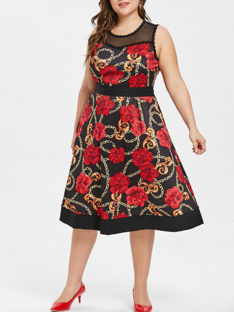 Floral Print Mesh Panel Plus Size Dress - BLACK 1X