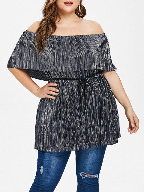 c409394d85714 41% OFF  2019 Plus Size Off The Shoulder Pleated Top In DARK GRAY 3X ...
