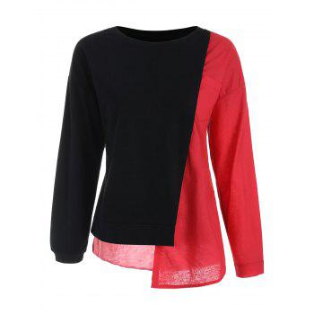 Drop Shoulder Asymmetric Contrast Sweatshirt