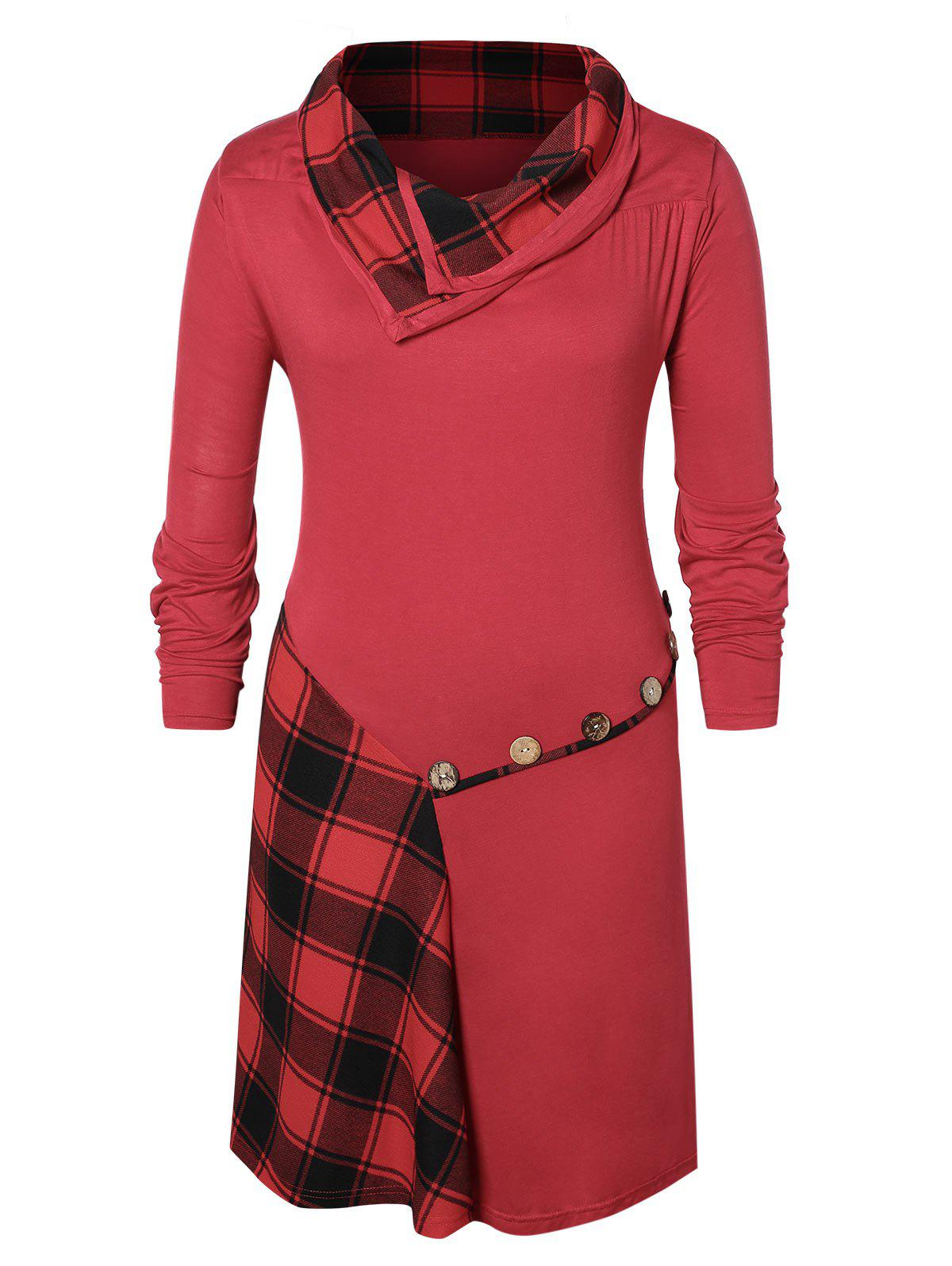 Plus Size Buttons Checked Knee Length Dress - RED WINE L
