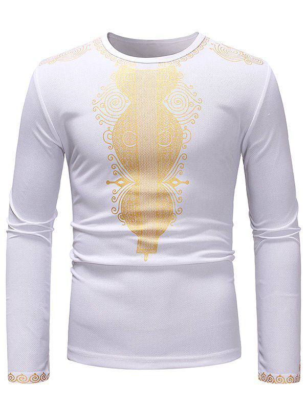 African Style Printed Crew Neck Long Sleeve T-shirt - WHITE M