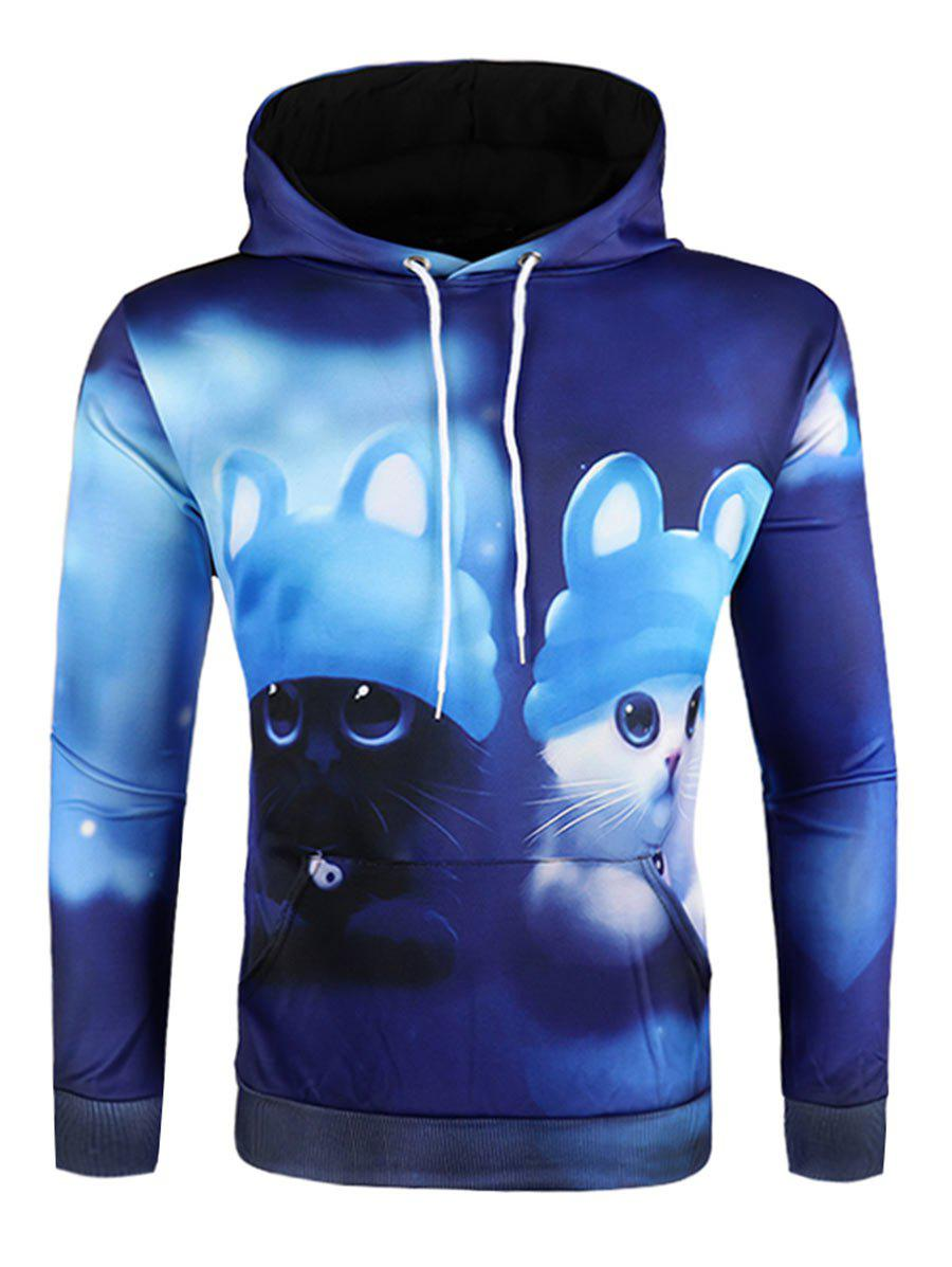 Sweat à Capuche 3D Animal Dessin Animé Imprimé - Bleu Myrtille 2XL