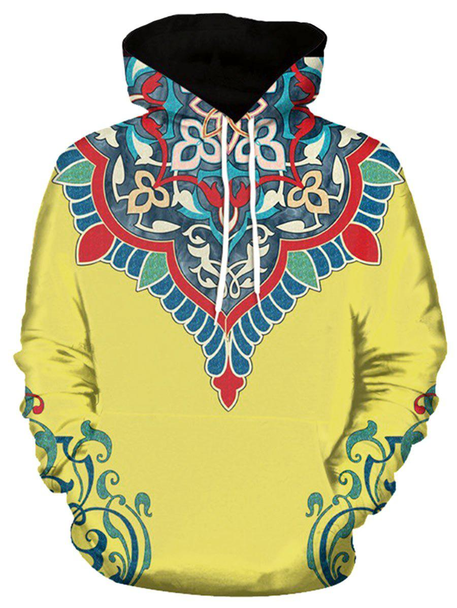 3D Flower Print Pullover Hoodie - YELLOW XL