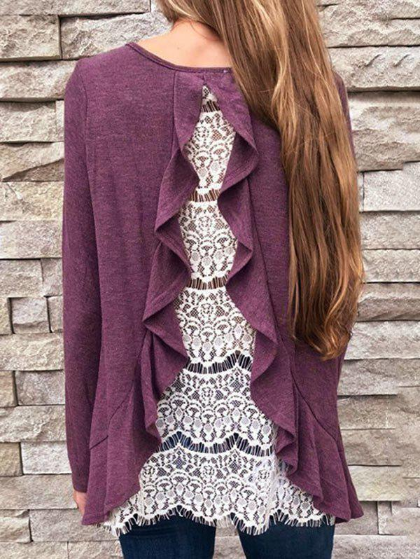 Round Neck Hollow Out Panel Swing Top - DULL PURPLE S